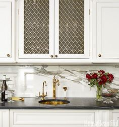 Black and White Kitchen Design - Luxe Kitchen Products in the article. Love the brass fixtures and wire mesh grille on cabinet doors La Cornue, Kitchen Cabinet Doors, Kitchen Cabinets, Glass Cabinets, Cabinet Hardware, Cupboards, Chicken Wire Cabinets, Bar Sink, Herd