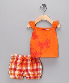 Take a look at this Orange Plaid Butterfly Tank & Shorts - Toddler by BT Kids on #zulily today!