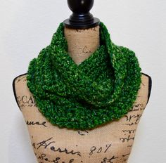 Crocheted cowl//Cowl//The Gemstone//in by VintageCatCreations green cowl green crochet cowl chunky cowl
