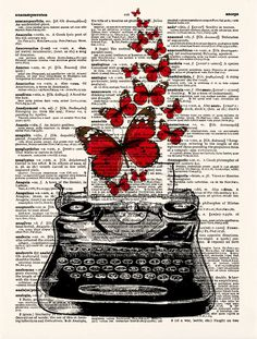 Typewriter Wall Art Typewriter Butterflies Print Vintage