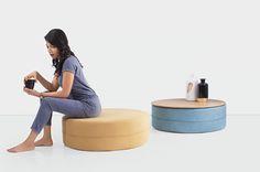 Pouf soggiorno ~ Pouf realizzati rivestendo di similpelle vecchi pneumatici usati