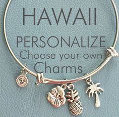 Hawaiian Vacation Custom Bangle Inspired by Charm by Arrimage. I NEED THIS! If you love me, you will buy it! Especially since you know I love everything pineapple
