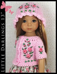 """OOAK Pink Roses Outfit for Little Darlings Effner 13"""" by Maggie & Kate Create"""
