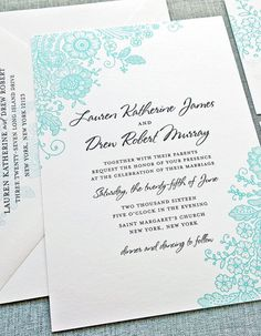 Lovely lace inspired invitation. Really loving this color!