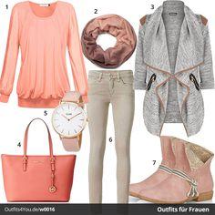 Damen-Style in Rosé und Grau (w0016) #frauenmode #fashion #style #mode #damenmode #inspiration #fashion #womenswear