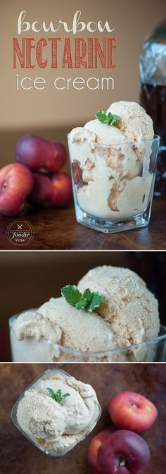 The perfect blend between sweet fresh fruit and creamy vanilla bean ice cream with a smooth bourbon finish! This homemade Bourbon Nectarine Ice Cream is smooth and creamy. Enjoy this summer recipe! Homemade Desserts, Frozen Desserts, Frozen Treats, Dessert Recipes, Bourbon Ice Cream, Vanilla Bean Ice Cream, Vanilla Beans, Alcoholic Ice Cream, Ice Cream Recipes