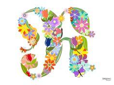 #Desk Flowery Letters #LeFormedeiGiorni di #LiriciGreci Lettera R rivestita con motivi floreali e variopinti utilizzando il carattere Fraktur