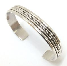 Sterling Silver Five Row Native American Navajo Indian Cuff Bracelet. Signed.