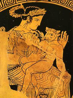 """Pasifae con il Minotauro neonato su una """"kylix"""" a figure rosse risalente al 330 a.C."""