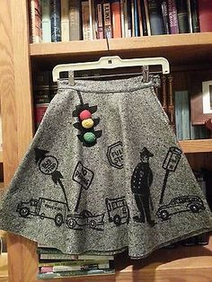This skirt has already sold but it is a beauty!   Vintage 1950s wool skirt with traffic motif