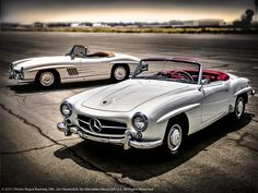 190 SL Mercedes Roadster and a 300 SL / Looks like oils and airbrush? Nice effect.