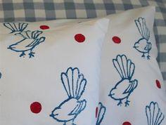 Pair Cotton Pillowcases - Blue Fantails