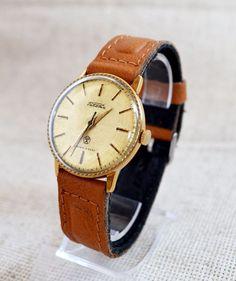 Men`s Watch Vintage Gold-plated RAKETA 1970s Collectibles Soviet Luxury watch #Raketa #LuxuryDressStyles #Casual #fathersday #watch #forhim #RAKETA #Gold #Hipster #Christmasgifts