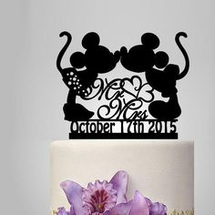 Mickey and Minnie mouse silhouette cake topper, mr and mrs wedding cake topper with heart decor, disney wedding cake topper with date - http://wedding-cake-topper.com/mickey-and-minnie-mouse-silhouette-cake-topper-mr-and-mrs-wedding-cake-topper-with-heart-decor-disney-wedding-cake-topper-with-date/