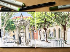 Architecture sketch panorama. Marker hand-drawing rendered illustration in sketchbook. Copic. Urban sketching