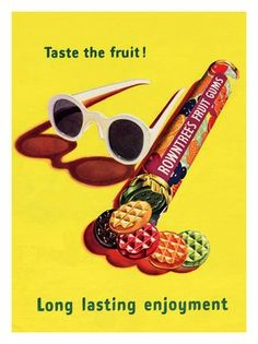 Vintage ad for Rowntrees Fruit Gums, Retro Candy, Vintage Candy, Vintage Packaging, Vintage Branding, Retro Recipes, Vintage Recipes, Vintage Sweets, Vintage Food, Retro Food