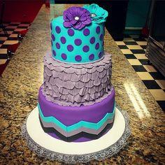 purple turquoise grey polka dot chevron baby shower cake by Janitaaak
