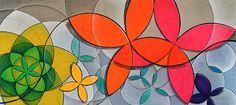 Pintura de borboletas fluorescentes e plantas geométricas e flores verde e…