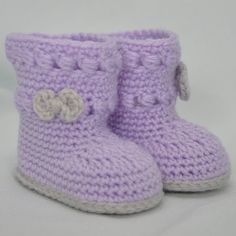Crochet Baby Booties Baby Booties, Crochet Baby Boots, Booties with Bow - Crochet Baby Boots, Booties Crochet, Baby Booties, Knit Crochet, Crochet Baby Blanket Beginner, Lilac Color, Baby Needs, Bootie Boots, Bows