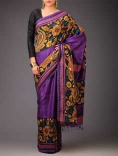 Buy Purple Brown Green Pink Floral Kalamkari Tussar Silk Saree Sarees Printed Narratives Concept and Blouses in Craft Online at Jaypore.com