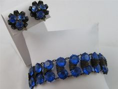 Vintage Sapphire Blue Rhinestone Bezel Set Double Row Bracelet & Earrings SET