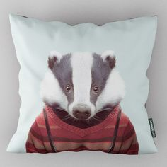 Evermade Zoo Portrait Cushion - Badger