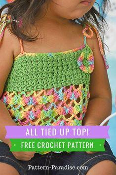 Crochet Top Patterns Free Crochet Pattern: All Tied Up Top Crochet Toddler Dress, Crochet Summer Dresses, Crochet Summer Tops, Crochet Halter Tops, Baby Girl Crochet, Crochet Baby Clothes, Black Crochet Dress, Crochet For Kids, Easy Crochet
