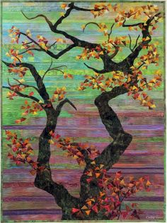 Overhanging Oak Branches - Cathy Geier. Strip pieced landscape quilt with appliqued tree trunks and leaves.