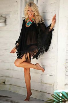 Boho Style Woven Crochet Beach Cover-Up