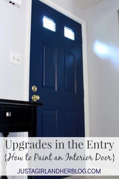 Amazing transformation with tips on the best way to paint an interior door! Love! | JustAGirlAndHerBlog.com