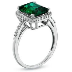 Zales Emerald-Cut Lab-Created Opal and White Sapphire Frame Ring in Sterling Silver - Size 7 yAcMCUevpo
