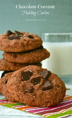 Chocolate Coconut Pudding Cookies (think Mounds & Almond Joy!) - Wildflour's Cottage Kitchen