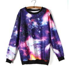 New Universe Pattern Galaxy Print Long Sleeve Loose T-shirt