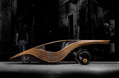 organic materials such as bamboo and rattan are handwoven into a modern, yet natural automobile.
