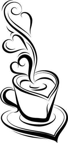 Cup of Love Cup of Joe / vinyl decal / coffee bar / home décor / computer skins / wall graphic art / window sticker decal / embellishment - Computer Skins, Stencils, Coffee Bar Home, Coffee Heart, Wood Burning Patterns, Silhouette Projects, Silhouette Drawings, Silhouette Design, Vinyl Projects