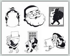 Blackwork Santas by Fred  Try these designs in black, red or gold metallic. The first #Santa with the big bag would be great on a #Gift sack - just add the recipient's name. Quick to stitch using just one color these also make great gifts for #teachers, mailmen and such. $15.00 for all six designs!