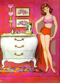 Friend of Barbie includes. Two dolls, one brown hair and one blonde;  Seven sheets of clothes and accessories. Midge Best Friend of Barbie Cut-Outs |  Artist: Al Anderson?  9 of 12