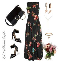 """""""Maxi Dress"""" by emjule ❤ liked on Polyvore featuring W118 by Walter Baker, Lands' End, Diane Kordas and Yves Saint Laurent"""