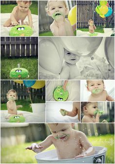 Cute boy's 1 Year Cake Smash   Love the balloon shot and the splashing one too