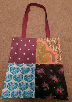Plums and Blues Patchwork Tote with Aqua Lining (side 1)