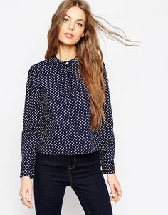 ASOS+Spot+Print+Shirt+With+Tie+Front