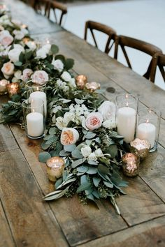 35 Trending Floral Greenery Wedding Ideas for 2019 peach blush and greenery floral garland wedding table setting ideas Outdoor Wedding Decorations, Wedding Table Centerpieces, Outdoor Weddings, Centerpiece Ideas, Centerpiece Flowers, Rectangle Table Centerpieces, Wedding Tables, Graduation Centerpiece, Wedding Table Garland