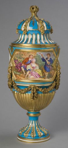 Vase with Lid  Made by the Sèvres porcelain factory, Sèvres, France, 1756 - present. Partially decorated by Jean-Armand Fallot, French, 1765 - 1790.  Geography: Made in Sèvres, France, Europe Date: 1774 Medium: Soft-paste porcelain with enamel and gilt decoration