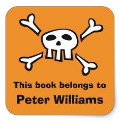 """Orange skull bookplate sticker/book label for boys. Personalized kids bookplates featuring a white cartoon skull with black outlines on an orange background and black text """"This book belongs to [Name and Surname]"""". Great for tagging your boys school books."""