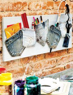 Porta-trecos feito com retalhos de calça jeans
