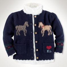Intarsia-Knit Horse Cardigan - Infant Girls Sweaters - RalphLauren.com