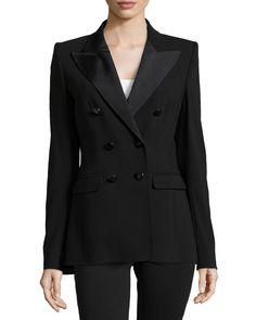 Escada Double-Breasted Long Lined Jacket, Black, Women's, Size: 36