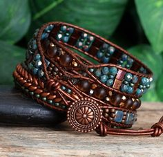 Türkis Kupfer Wrap Armband Perlen Leder-Wrap Tila von PJsPrettys