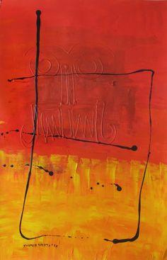 ST 27. Arte, Acrílico, Óleo, Galería, Interiorismo, Gráfica, Tinta, Decoración. Abstracto Rojo Calligraphy, Painting, Acrylic Art, Ink, Abstract, Red, Artists, Lettering, Painting Art