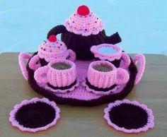 crochet tea set.